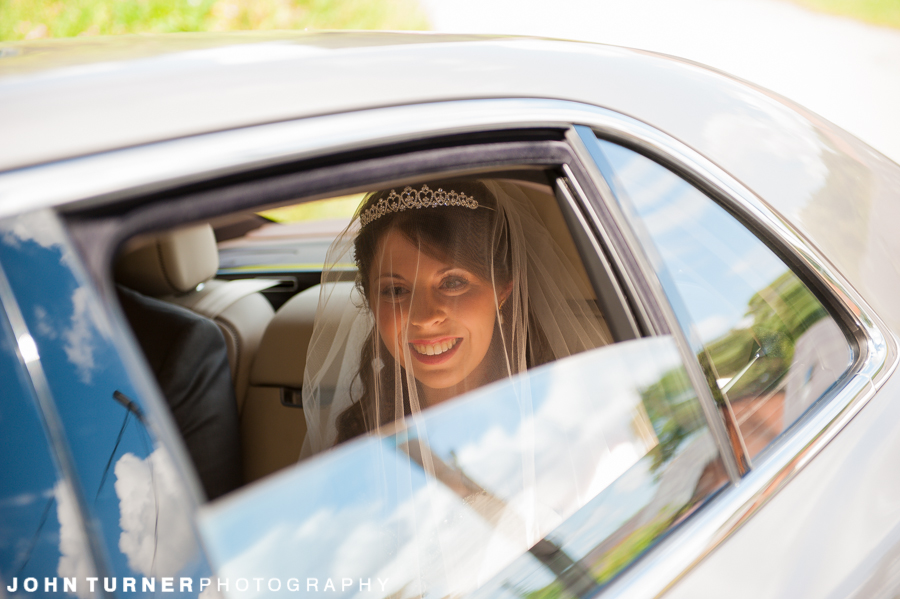 Bride arriving at a Cambridge Wedding